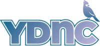 Young Democrats of North Carolina logo; the letters YDNC written out with a graphic of a cardinal perched on top of the C