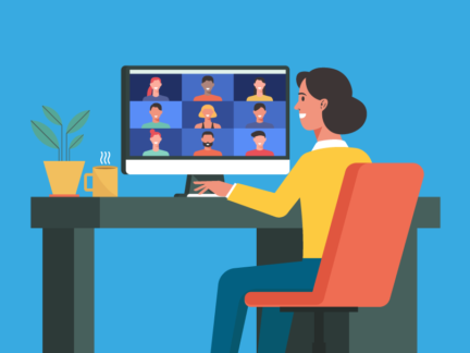 Stylized graphic of a woman sitting at her computer and viewing a screen. The screen contains a grid with several smiling faces.